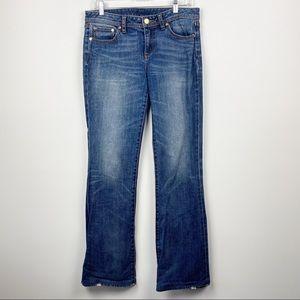 TORY BURCH Medium Wash Classic Tory Boot Pocket Logo Bootcut Jeans Denim Size 29